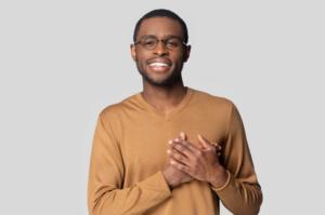 Man showing gratitude